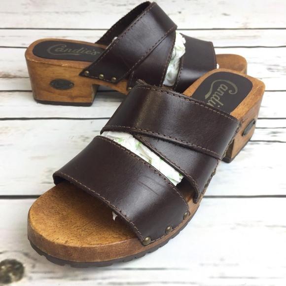 8cefd600b5e Candie s Shoes - Vintage Candies Wooden Sandals Size 7 Clog Shoes